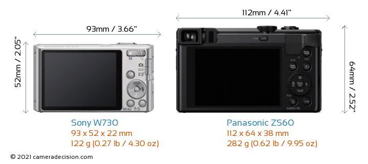 Sony W730 vs Panasonic ZS60 Camera Size Comparison - Back View