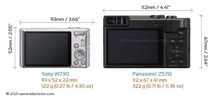 Sony W730 vs Panasonic ZS70 Camera Size Comparison - Back View