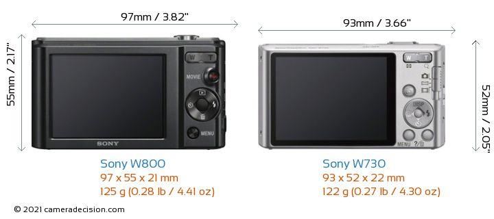 Sony W800 vs Sony W730 Camera Size Comparison - Back View