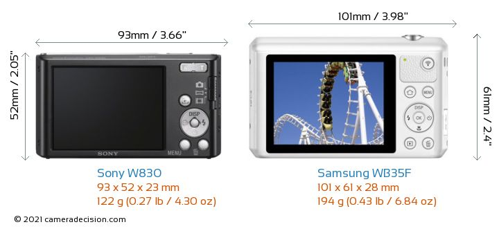 Sony W830 vs Samsung WB35F Camera Size Comparison - Back View