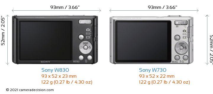 Sony W830 vs Sony W730 Camera Size Comparison - Back View