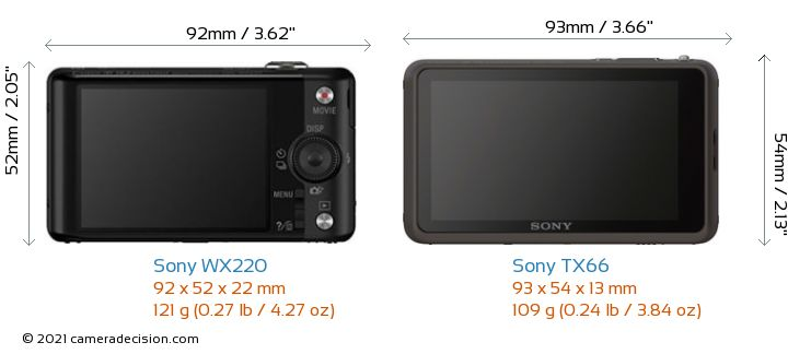 Sony WX220 vs Sony TX66 Camera Size Comparison - Back View