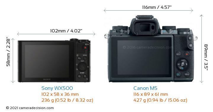 Sony WX500 vs Canon M5 Camera Size Comparison - Back View