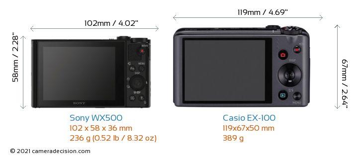 Sony WX500 vs Casio EX-100 Camera Size Comparison - Back View