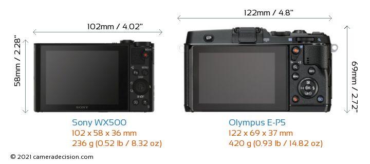 Sony WX500 vs Olympus E-P5 Camera Size Comparison - Back View