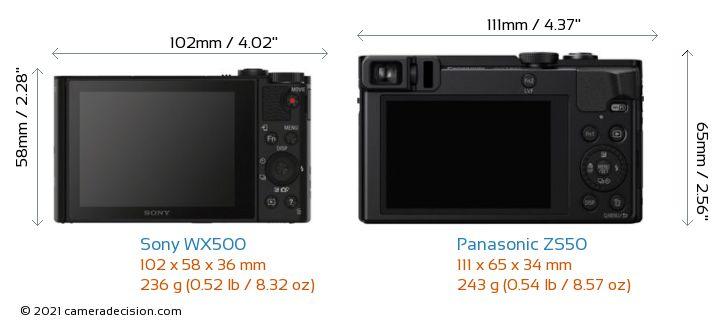 Sony WX500 vs Panasonic ZS50 Camera Size Comparison - Back View