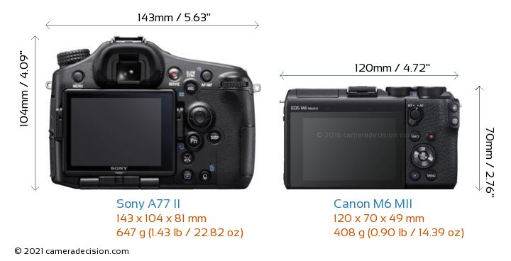 Sony A77 II vs Canon M6 MII Camera Size Comparison - Back View