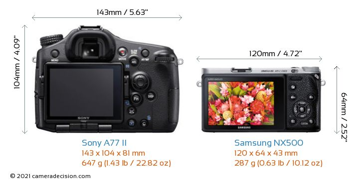 Sony A77 II vs Samsung NX500 Camera Size Comparison - Back View