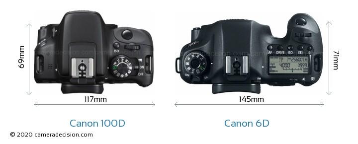 Canon 100D vs Canon 6D Camera Size Comparison - Top View