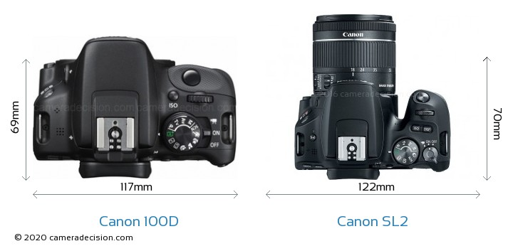 Canon 100D vs Canon SL2 Camera Size Comparison - Top View