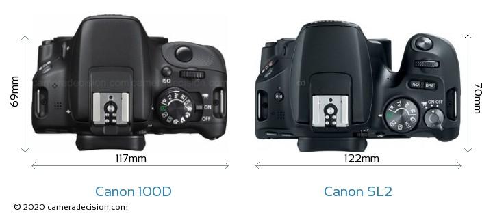 Canon 100D vs Canon SL2 Camera Size Comparison - Top View
