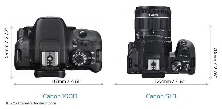 Canon 100D vs Canon SL3 Camera Size Comparison - Top View