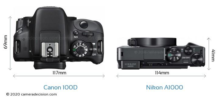 Canon 100D vs Nikon A1000 Camera Size Comparison - Top View