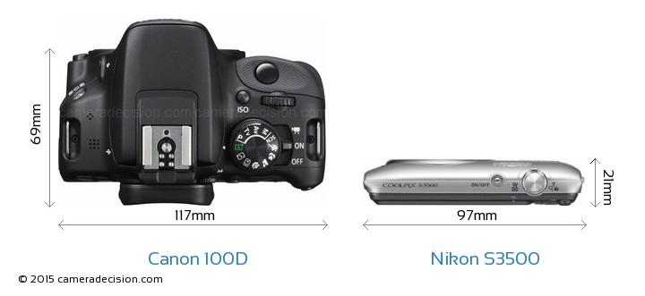 Canon 100D vs Nikon S3500 Camera Size Comparison - Top View