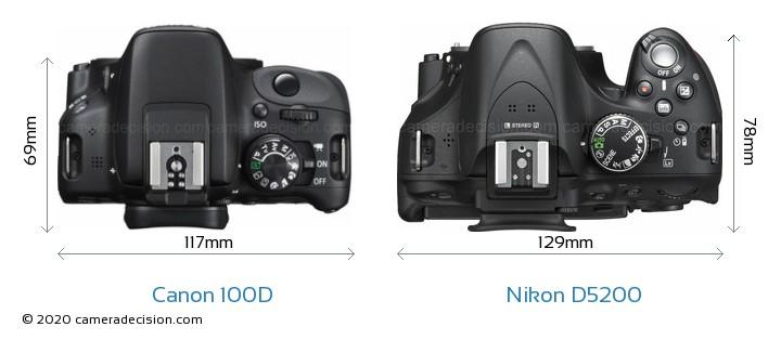 Canon 100D vs Nikon D5200 Camera Size Comparison - Top View