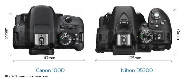 Canon 100D vs Nikon D5300 Camera Size Comparison - Top View