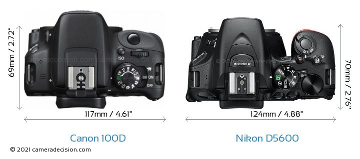 Canon 100D vs Nikon D5600 Camera Size Comparison - Top View