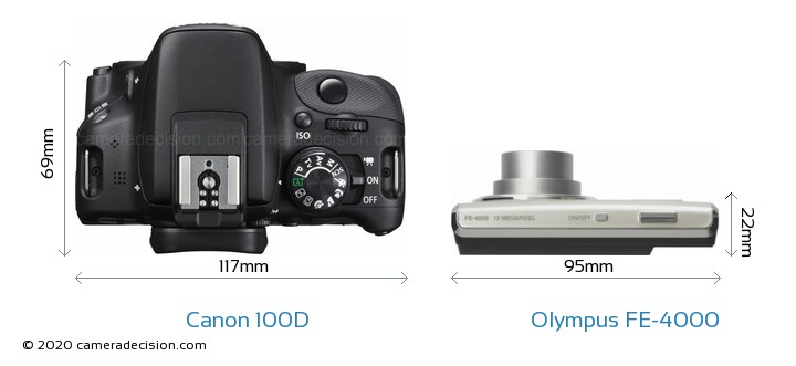 Canon 100D vs Olympus FE-4000 Camera Size Comparison - Top View