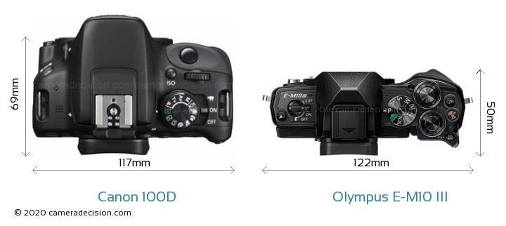 Canon 100D vs Olympus E-M10 MIII Camera Size Comparison - Top View