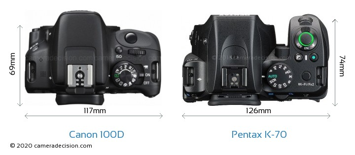Canon 100D vs Pentax K-70 Camera Size Comparison - Top View