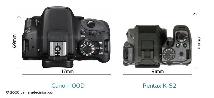 Canon 100D vs Pentax K-S2 Camera Size Comparison - Top View