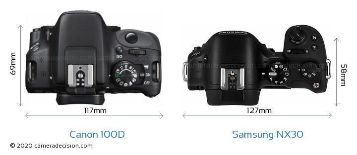Canon 100D vs Samsung NX30 Camera Size Comparison - Top View