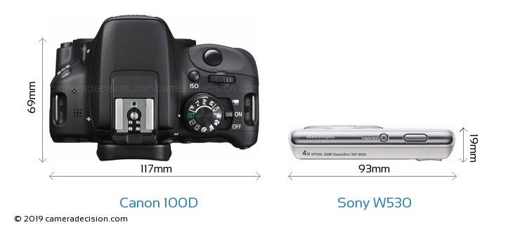 Canon 100D vs Sony W530 Camera Size Comparison - Top View