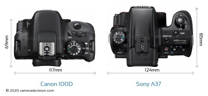 Canon 100D vs Sony A37 Camera Size Comparison - Top View
