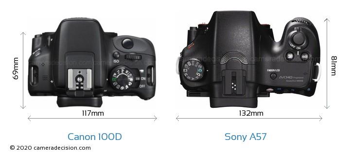 Canon 100D vs Sony A57 Camera Size Comparison - Top View