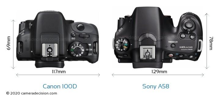 Canon 100D vs Sony A58 Camera Size Comparison - Top View
