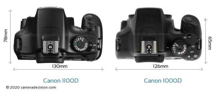 Canon 1100D vs Canon 1000D Camera Size Comparison - Top View
