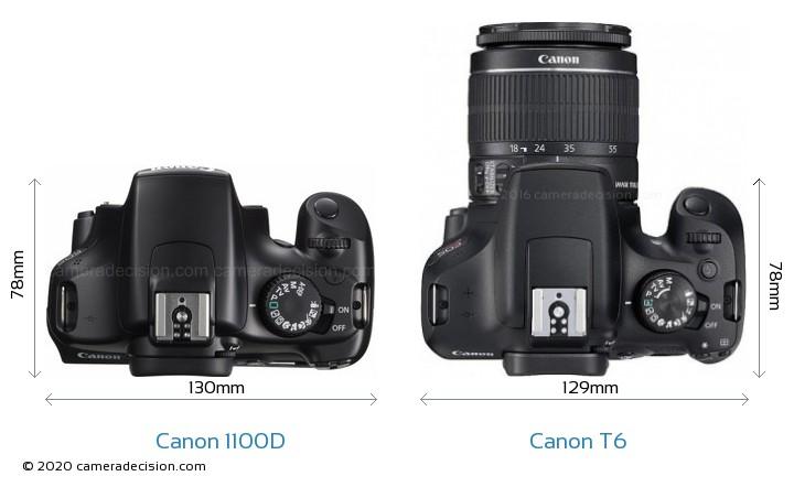 Canon 1100D vs Canon T6 Camera Size Comparison - Top View