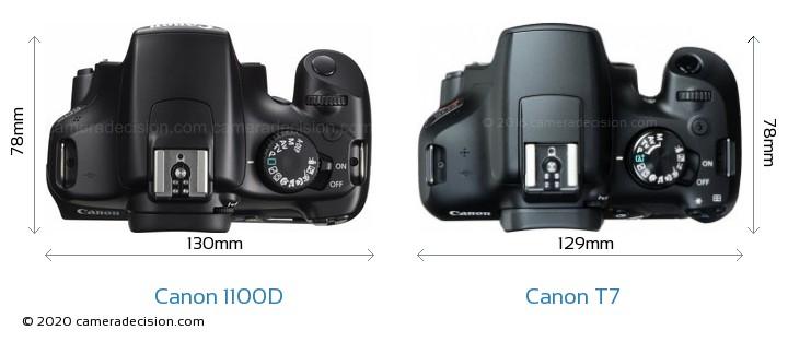 Canon 1100D vs Canon T7 Camera Size Comparison - Top View