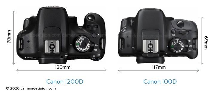Canon 1200D vs Canon 100D Camera Size Comparison - Top View