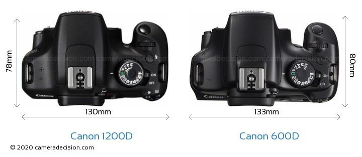Canon 1200D vs Canon 600D Camera Size Comparison - Top View