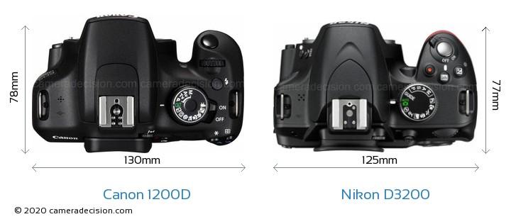 Canon 1200D vs Nikon D3200 Camera Size Comparison - Top View