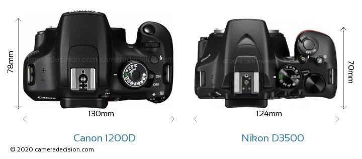 Canon 1200D vs Nikon D3500 Camera Size Comparison - Top View