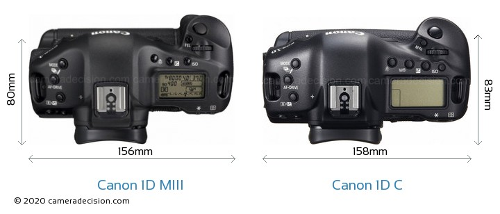 Canon 1D MIII vs Canon 1D C Camera Size Comparison - Top View