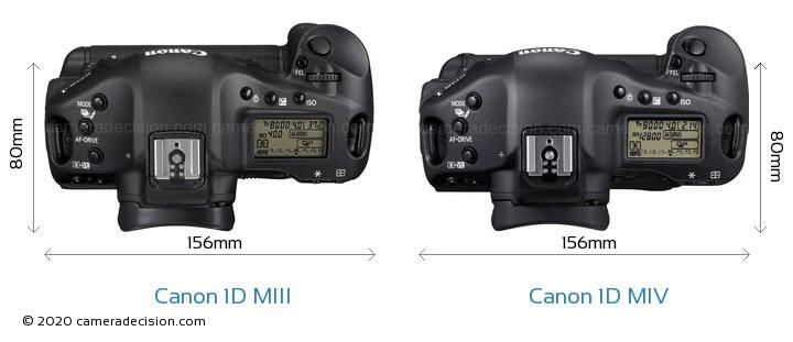 Canon 1D MIII vs Canon 1D MIV Camera Size Comparison - Top View