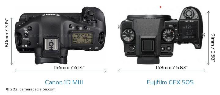 Canon 1D MIII vs Fujifilm GFX 50S Camera Size Comparison - Top View