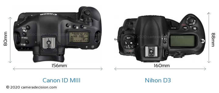 Canon 1D MIII vs Nikon D3 Camera Size Comparison - Top View