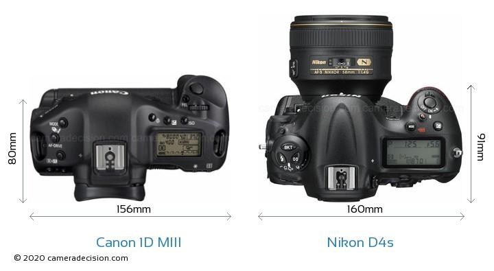 Canon 1D MIII vs Nikon D4s Camera Size Comparison - Top View
