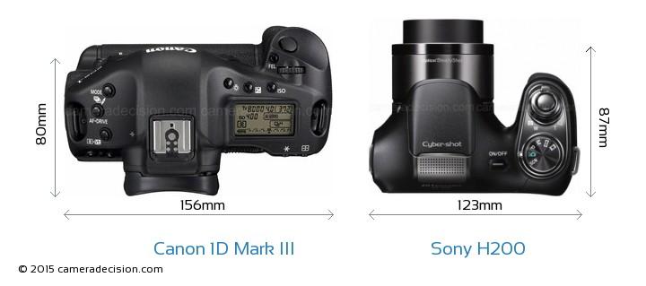 Canon 1D MIII vs Sony H200 Camera Size Comparison - Top View
