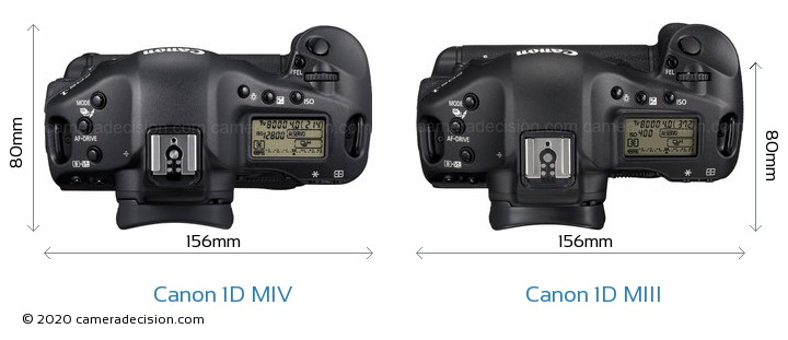 Canon 1D MIV vs Canon 1D MIII Camera Size Comparison - Top View