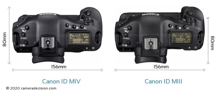 Canon 1D MIV vs Canon 1D MIII Camera Size Comparison - Top View