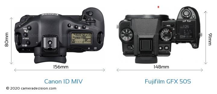 Canon 1D MIV vs Fujifilm GFX 50S Camera Size Comparison - Top View