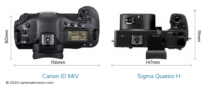Canon 1D MIV vs Sigma Quattro H Camera Size Comparison - Top View
