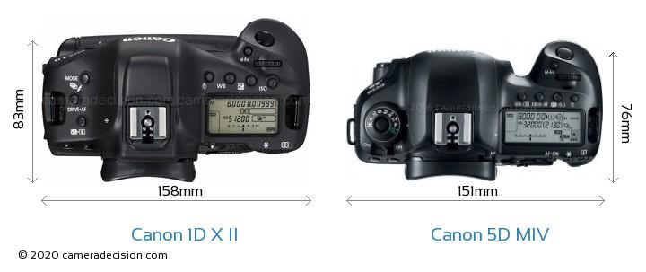 Canon 1D X II vs Canon 5D MIV Camera Size Comparison - Top View