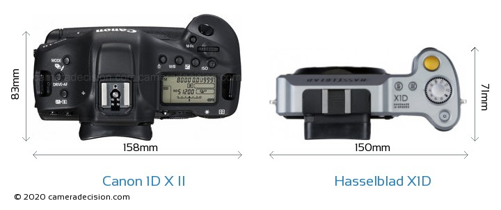 Canon 1D X Mark II vs Hasselblad X1D Camera Size Comparison - Top View