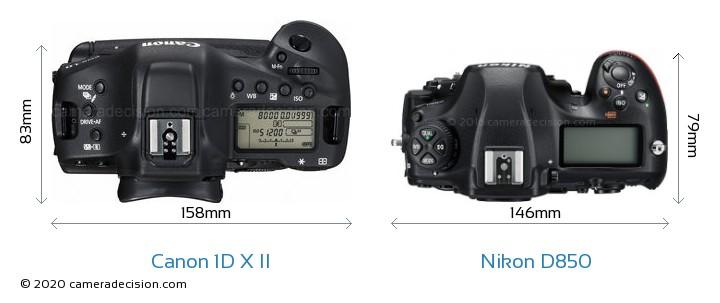 Canon 1D X II vs Nikon D850 Camera Size Comparison - Top View